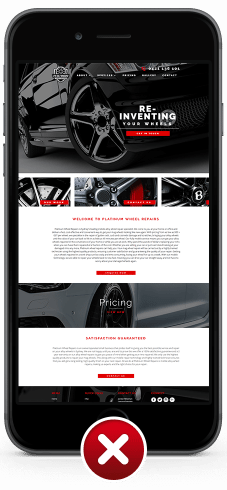 Image of non-mobile responsive web design for Platinum Wheel Repairs