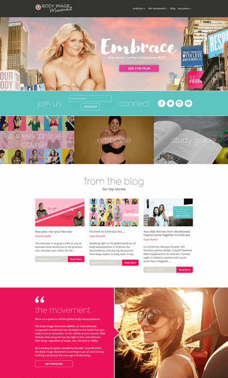 Image of the Body Image Movement website - home page