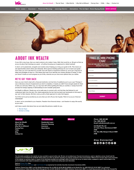 Image of the Ink Wealth website design - about us page