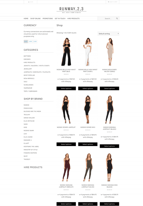 Image of the Runway 2 3 ecommerce web design - shop page