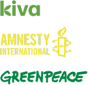 We support Kiva, Amnesty International, and Greenpeace